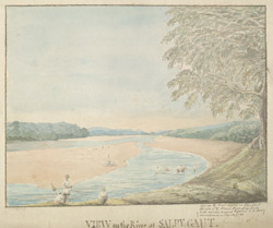 f.22   'View on the River at Salpy gaut.  View on the River Soane at Salpy Gaut.  J.T. Blunt, Bnng.  Eng. fecit.  Vide Asiatic Annual Register.  A.D. 1800.  Miscellaneous Tracts, p.128' (espy. p.130)